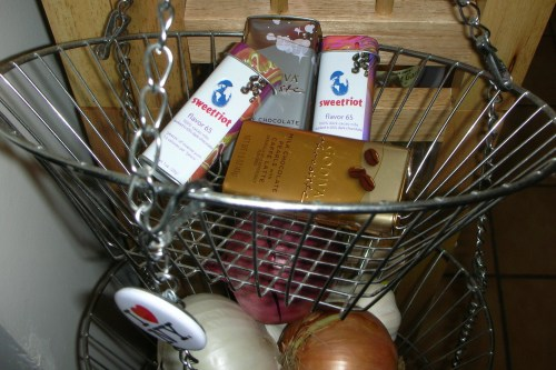 I keep the sweetriot and chocoiste boxes near my makeshift pantry...