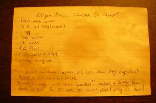 Eric and Aliza's challah recipe - the original 4X6 index card