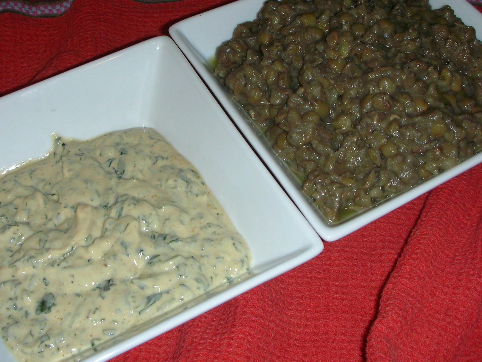 lentils and dressing