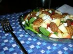 sugared and spiced pecans make it special: spinach, apple, feta salad
