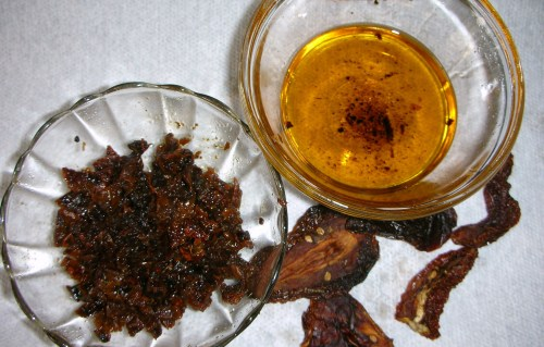 sun-dried tomatoes, reconstituted using Option 1; note infused olive oil