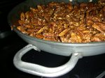 pecans in pan, sugared and spiced