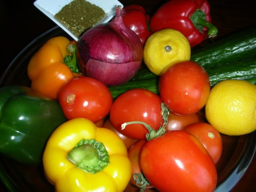 Salade Mira-Noa vegetable still life with za'atar