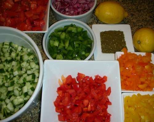 salad ingredients, ready to mix