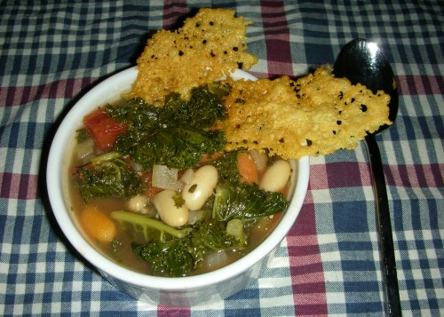 Kale and White Bean Soup with Parmesan Crisps