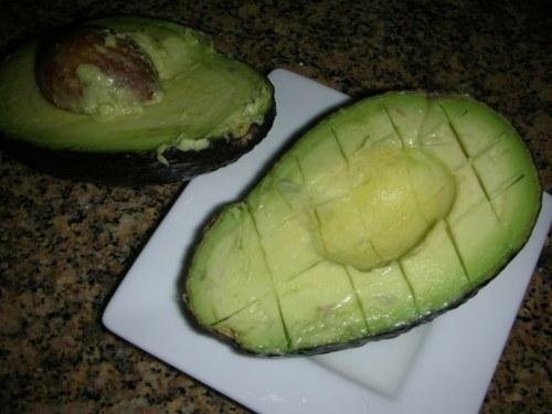 avocado ready to be scooped