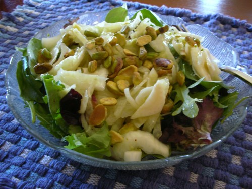 Fennel and Pistachio salad thrown on some mixed baby greens