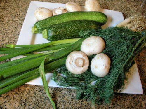 zucchini, mushrooms, dill, wild spring onions