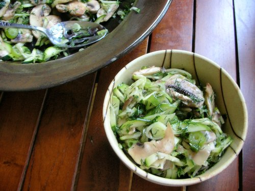 zucchini and mushrooms marinated in lemon with loads of dill