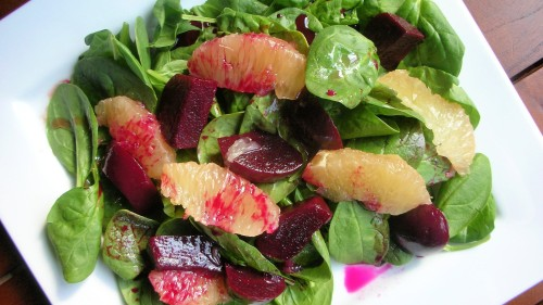 spinach beet grapefruit salad panorama
