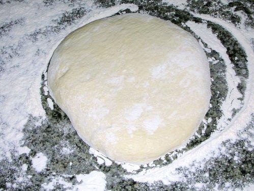 pita dough, kneaded
