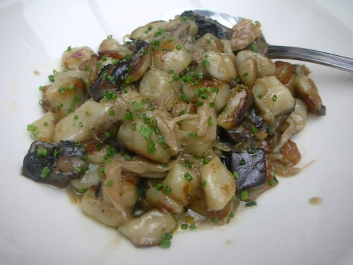 Handmade Gnocchi -- duck and chicken confit, roasted portobell mushrooms, fresh thyme, duck jus