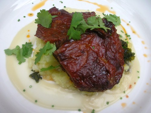 Braised Boneless Short Ribs -- barbecue glaze, cauliflower mash, braised kale, celery root sauce