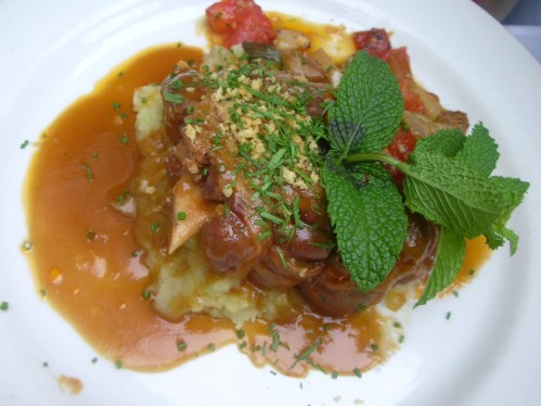 Braised Lamb Shank -- crushed yukon potatoes, freshly ratatouille, rosemary lamb sauce