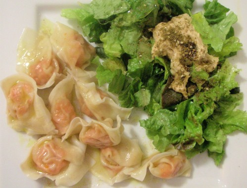 Spicy carrot tortellini with lemon cumin sauce