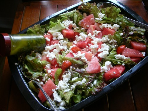 salad with red leaf lettuce
