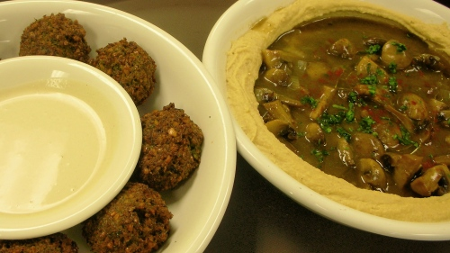 falafel and tehina, hummus pitriot (with mushroom-onion stew)
