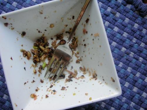 last few bites, crunchy salty hazelnuts