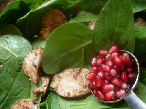 spinach and chicken salad with pomegranate dressing