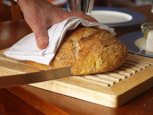 Jim Lahey's no-knead bread, the first slice