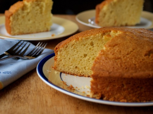 Olive oil Cointreau cake, sliced