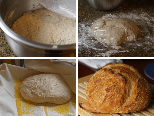 Jim Lahey's no-knead bread, the process: first rise, 15-minute rest, second rise, out of the oven