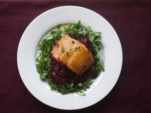 Maple-Mustard Glazed Smoked Sable with Beets and Horseradish Vinaigrette
