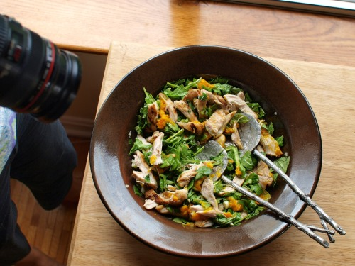 Shooting saffron chicken and herb salad (Ottenlenghi/Tamimi - Jerusalem) for the Boston Globe