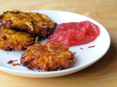 Sweet potato and apple latkes (Amy Traverso)