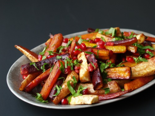 Pomegranate-roasted carrots and parsnips