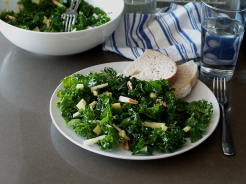 Kale apple salad with cheddar and pecans