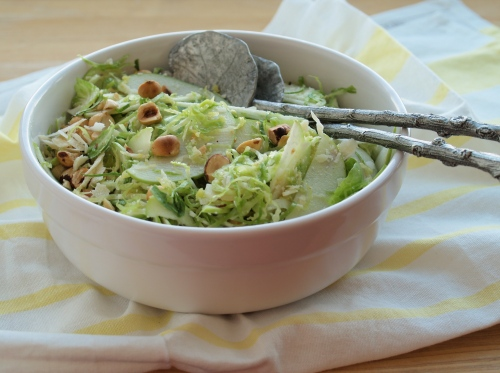 brussels sprouts, apple, and hazelnut salad