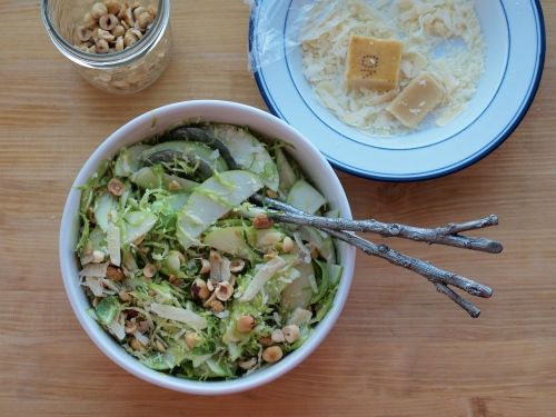 brusselss sprout, apple, hazelnut salad