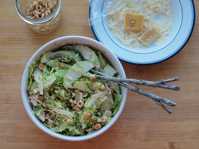 brusselss sprout, apple, hazelnut salad