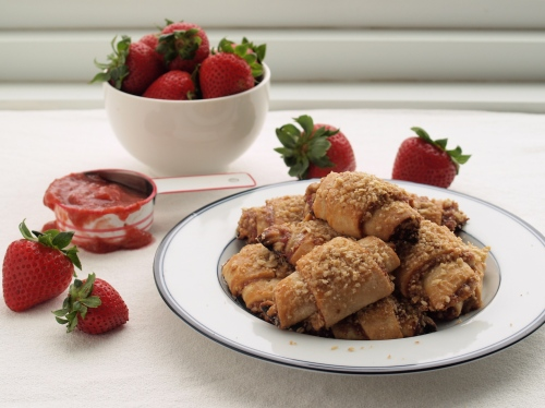 Mindy Segal's strawberry rhubarb rugelach with oatmeal streusel