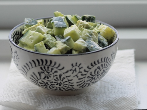 cucumber avocado salad with schug