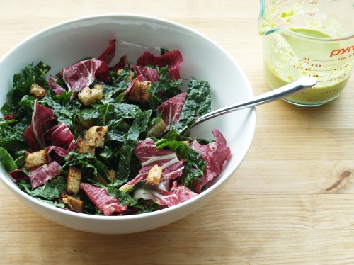 kale and radicchio with garlic scape dressing