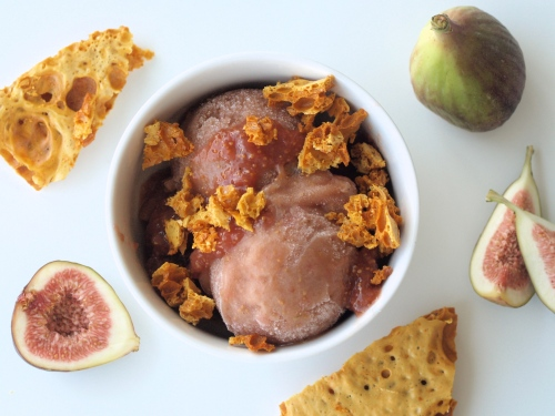 fig sorbet with honeycomb candy