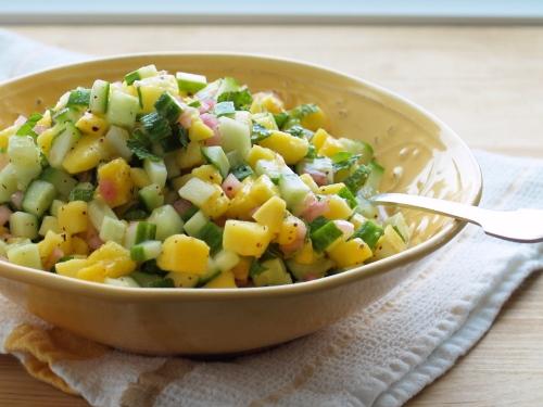 Zahav Mango, Cucumber and Sumac-Onion Israeli Salad