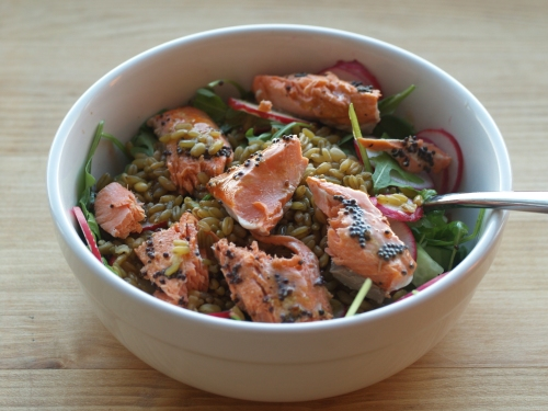 salmon farro grain bowl